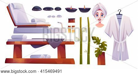 Spa Salon Set, Equipment And Furniture For Applying Beauty And Body Care Procedures. Woman Face With