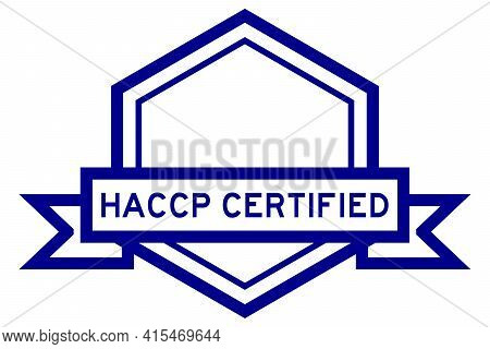 Hexagon Vintage Label Banner In Blue Color With Word Haccp (hazard Analysis And Critical Control Poi