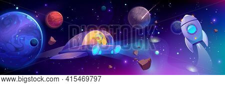 Alien Flying In Space Ship. Cute Extraterrestrial Monster With Green Skin Driving Ufo In Outer Cosmo