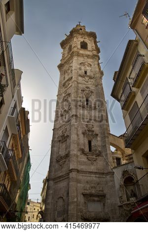 Valencia, Spain, 24 April 2017. Tower Of The Church Of Santa Catalina In Valencia. (la Iglesia De Sa