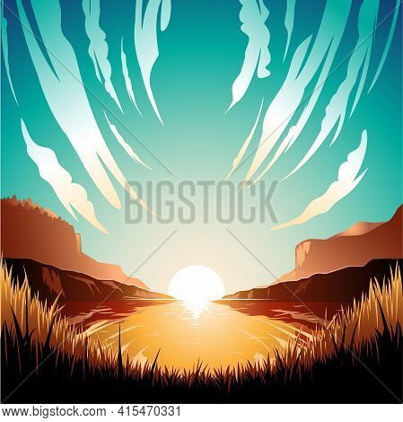 Bay In The Morning Vector Illustration Background