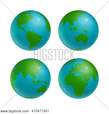 Set Of Earth Globes With All Green Continents