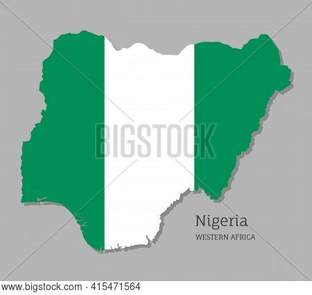 Map Of Nigeria With National Flag. Highly Detailed Map Of Western Africa Country