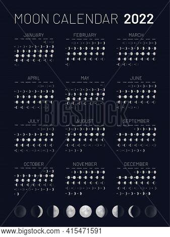 Moon Calendar 2022 Year Lunar Phases Blue Backdrop