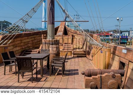 Seocheon, South Korea; March 13, 2021: Forward Deck Of Replica 14th Century British Vessel Lyra At M