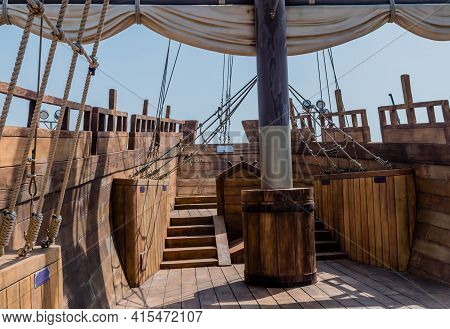 Rear Deck Of Replica 14th Century British Vessel Lyra At Maryong Port Park In South Korea.