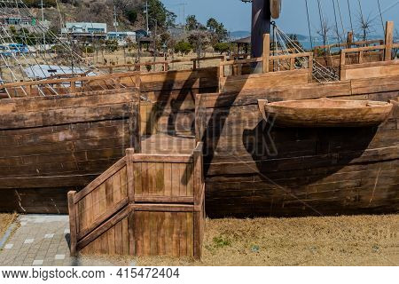 Lifeboat On Side Of Replica 14th Century British Sailing Vessel Located At Maryong Port In Seocheon,