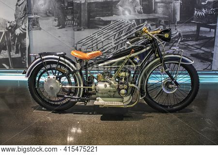 Germany, Munich - April 27, 2011: The Very First Bmw R32 Motorcycle In The Exhibition Hall Of The Bm