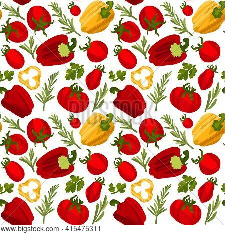 Organic Farmer Vegetables Pattern, Tomatoes, Pepper, Coriander Leaves And Rosemary.