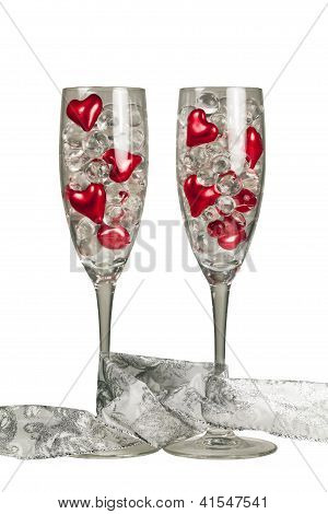 Two valentine champagne glasses