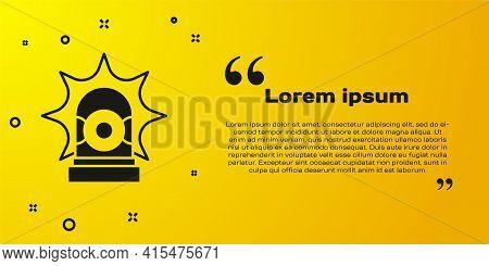 Black Flasher Siren Icon Isolated On Yellow Background. Emergency Flashing Siren. Vector