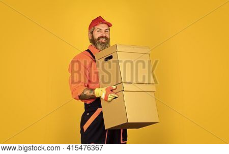Forced To Move. Man Courier Hold Boxes. Prepare For Moving. Rent House. Hipster Moving Out. Moving R