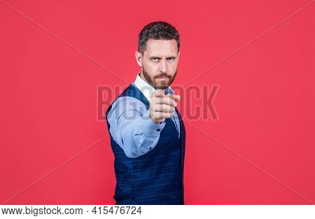 Handsome Man In Formalwear Pointing Finger On Camera, Success