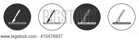 Black Medical Surgery Scalpel Tool Icon Isolated On White Background. Medical Instrument. Circle But