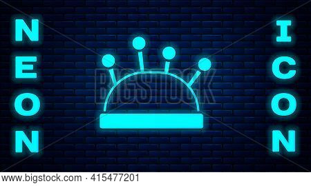 Glowing Neon Needle Bed And Needles Icon Isolated On Brick Wall Background. Handmade And Sewing Them
