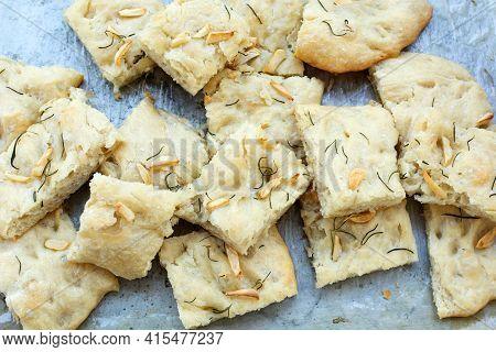Focaccia, Sliced italian Bread Served On A Plate.