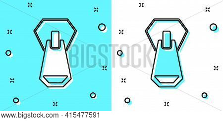 Black Line Zipper Icon Isolated On Green And White Background. Random Dynamic Shapes. Vector