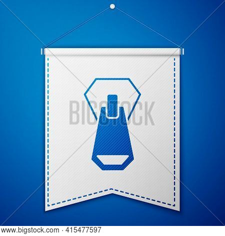 Blue Zipper Icon Isolated On Blue Background. White Pennant Template. Vector