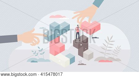 Strategic Conundrum And Business Work Tactics Management Tiny Person Concept