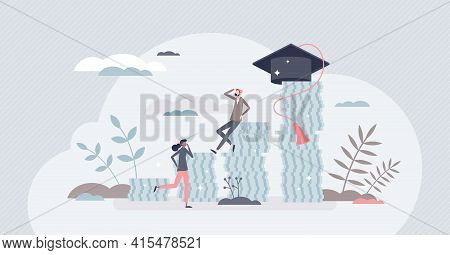 Student Debt And Expensive Tuition Problem For Education Tiny Person Concept