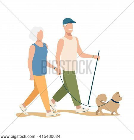 An Elderly Couple Are Walking The Dog. Active Pensioners Vector Illustration Isolated On White Backg