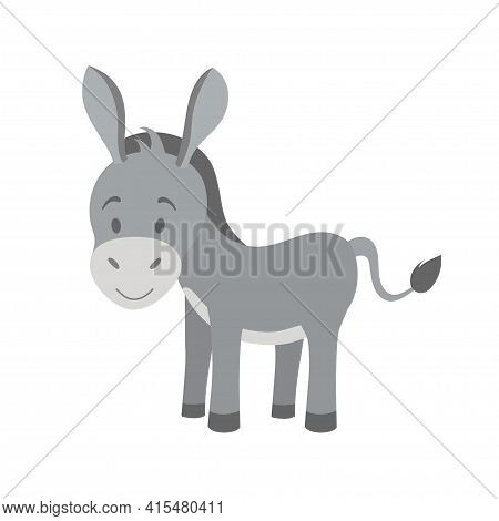 Young Grey Ass In Cartoon Style. Vector Illustration, Isolated Color Elements On A White Background.