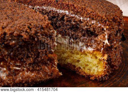 Two Pieces Of Tiramisu Cake. Tiramisu On A Clay Plate.
