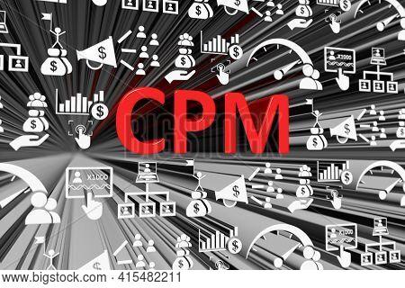 Cpm Concept Blurred Background 3d Render Illustration