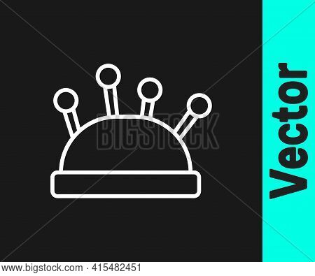 White Line Needle Bed And Needles Icon Isolated On Black Background. Handmade And Sewing Theme. Vect