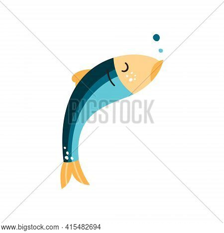 Anchovy Fish Vector Illustration. Small Salted Forage Fish Of The Family Engraulidae. Peruvian Ancho