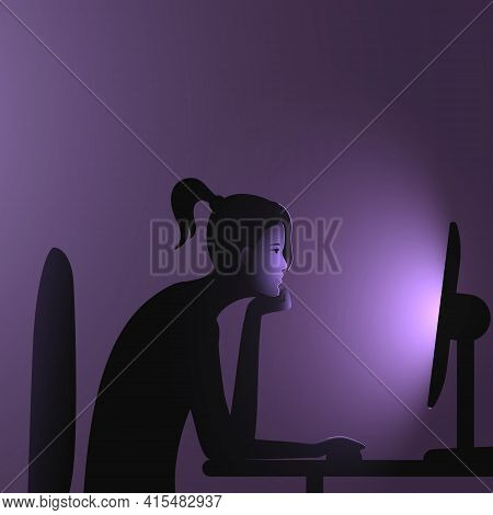 Internet Addiction. A Woman With A Ponytail Sits At A Computer Late At Night. Vector Illustration Of