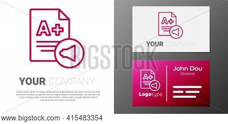 Logotype Line Exam Sheet With A Plus Grade Icon Isolated On White Background. Test Paper, Exam, Or S