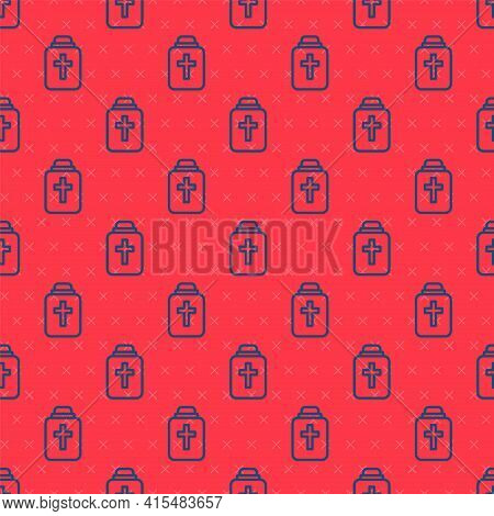 Blue Line Funeral Urn Icon Isolated Seamless Pattern On Red Background. Cremation And Burial Contain