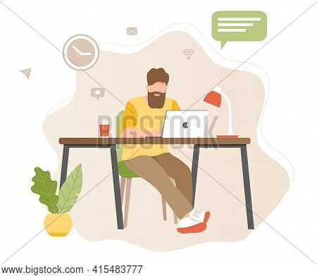 Working At Home Vector Flat Style Illustration. Online Career. Young Man Freelancers Working On Lapt