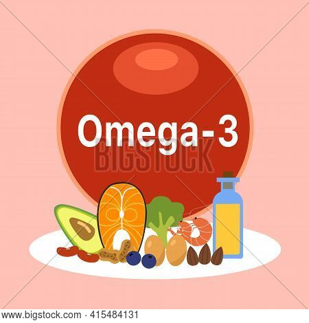 Omega-3 Food Sources Infographic Vector Illustration. Healthy Food. Essential Nutrition For Health.