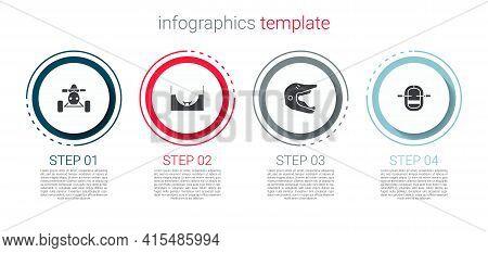 Set Atv Motorcycle, Skate Park, Motocross Helmet And Rafting Boat. Business Infographic Template. Ve