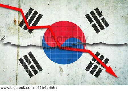 Fall Of The Korean Economy. Recession Graph With A Red Arrow On The Korea Flag. Economic Decline. De