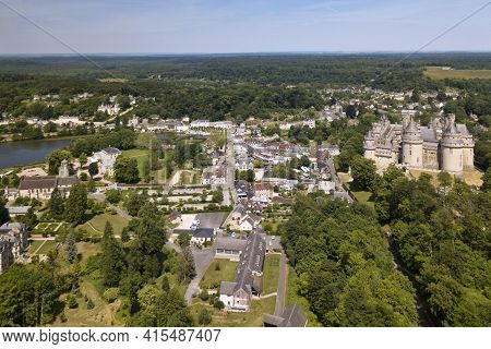 Pierrefonds, France - May 26 2020: The Pierrefonds Castle Is An Imposing Castle Located In The Oise
