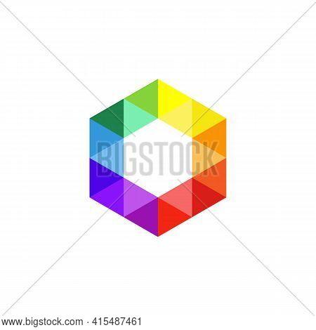 Hexagon Logo Icon. Isometric Cube. Colorful Jewel Symbol. Abstract Honeycomb Design. Hexagonal Color