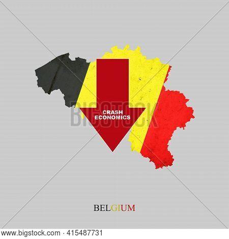 Crash Economics, Belgium. Red Down Arrow On The Map Of Belgium. Economic Decline. Downward Trends In