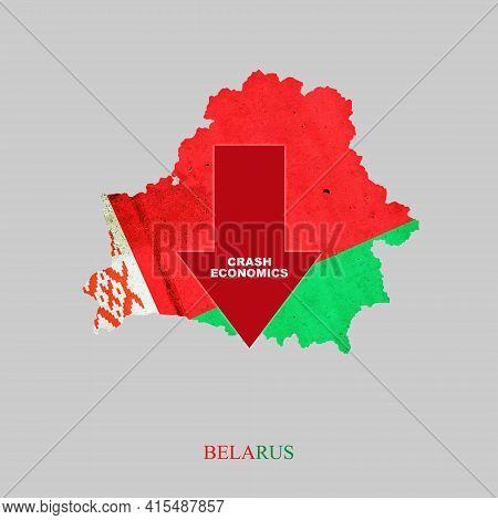 Crash Economics, Belarus. Red Down Arrow On The Map Of Belarus. Economic Decline. Downward Trends In