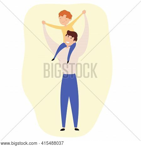 Fathers Day. The Son Sits On The Shoulders Of The Father. Happy Father And Son.