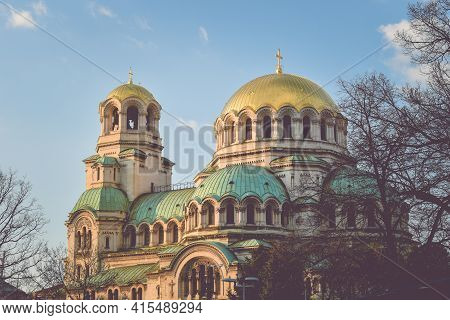 Alexander Nevsky Cathedral Sofia, Bulgaria. Bulgarian Orthodox Cathedral In The Capital Of Bulgaria.