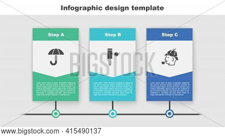 Set Umbrella, Wood Cricket Bat And Ball And Sherlock Holmes. Business Infographic Template. Vector