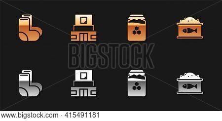 Set Valenki, Mausoleum Of Lenin, Jar Honey And Tin Can With Caviar Icon. Vector
