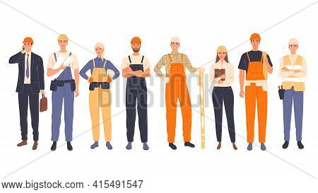 Group Of Construction Workers In Uniform, Men And Women Of Different Specialties Chief, Engineer, Wo