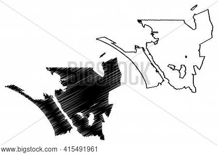 Vallejo City, California (united States Cities, United States Of America, Usa City) Map Vector Illus