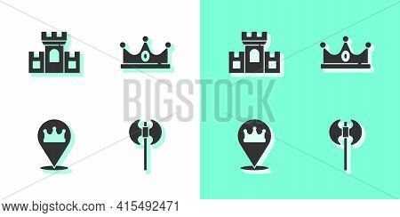Set Medieval Axe, Castle, Fortress, Location King Crown And King Icon. Vector