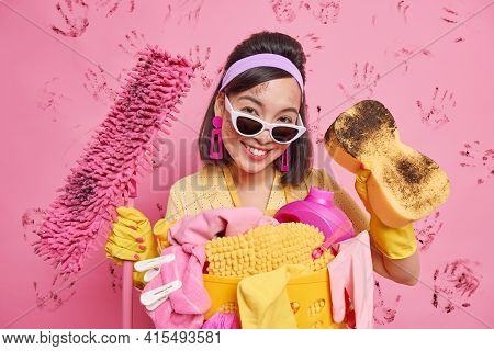 Happy Busy Asian Lady From Cleaning Service Busy Tidying Up Apartment Equipped With Sponge And Mop S