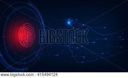 Cyber Security With Fingerprint Scanning.fingerprint On Hexagon Geometric Graphics Dark Blue.securit